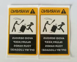 2PCS Warning Decal for Your Luggage Bagpack Piggy Bag,Trolle