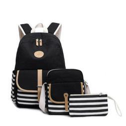 3pcs/set Canvas Women Backpack Bookbag Laptop Bagpack Travel
