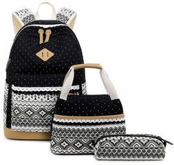 Abshoo Canvas Dot Backpack Cute Teen Girls Backpacks Set 3 P