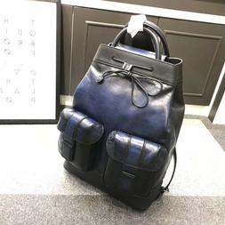 Authentic BERLUTI Unisex Leather Bagpack Blue with Patina