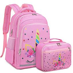 CAMTOP Backpack for Kids Girls School Backpack with Lunch Bo