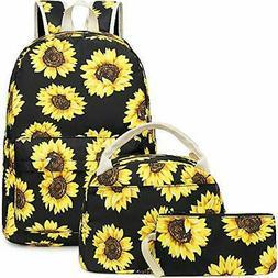 BLUBOON Teens Backpack Set Canvas Girls School Bags, Bookbag