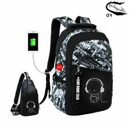 2pcs Boys School Bags Set Waterproof USB Charge Large Backpa