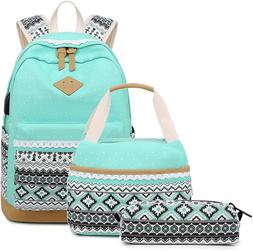 Abshoo Canvas Dot Backpack Cute Teen Girls Backpacks Set 3 P