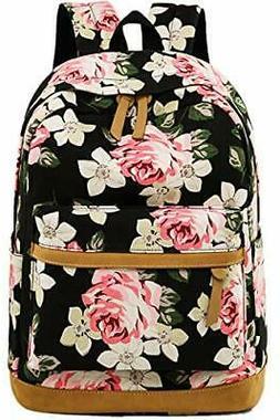 canvas school backpack teen girls bookbag black