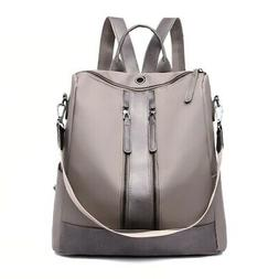 Casual Nylon Backpack Solid Color Large Capacity Daypack for