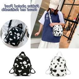 Cow Print Backpack Women Canvas Casual Schoolbag Teenage Gir