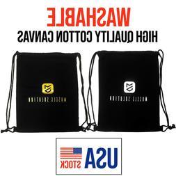 Drawsring Washable Gym Sack Sport Bagpack String Bag Cotton