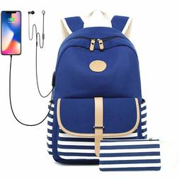 Fashion Canvas Women Backpack USB Charge Laptop Bagpack Scho