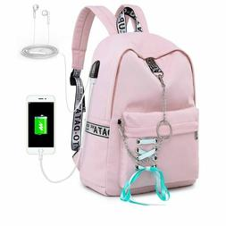 Waterproof Women Backpack School Bags for Girl USB Charge Tr