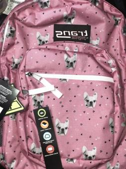 French bulldog pink backpack Jansport trans SuperMax Pink school book bag  NWT