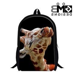 Giraffe Print School Backpack for Children Animal Bookbags S