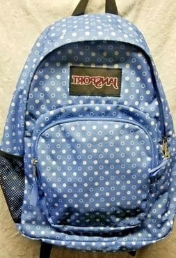 "Jansport Girls 17"" Basic Backpack. Blue with white dot desig"