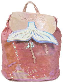 Kids Girls Mermaid Backpack Pink Hologram Sequin Drawstring