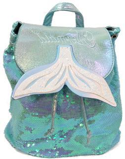 kids mermaid backpack sea blue green hologram