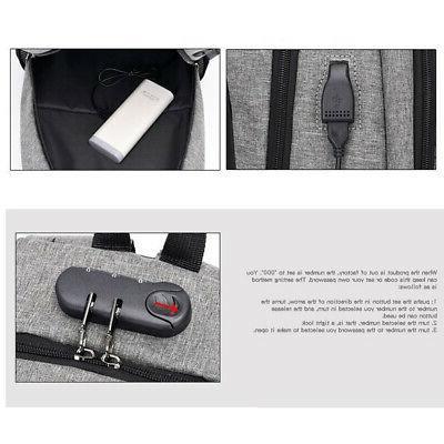 Anti Man Backpack USB Charged Large Bagpack Me C9Q1