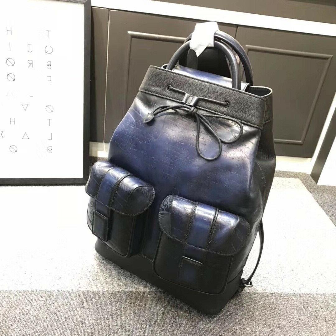 authentic unisex leather bagpack blue with patina