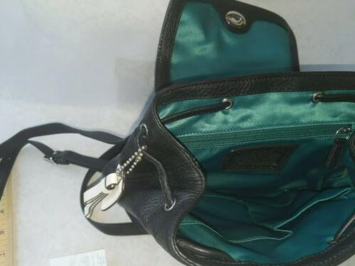 COACH Bagpack Park Leather Silver/Black F24385 interior