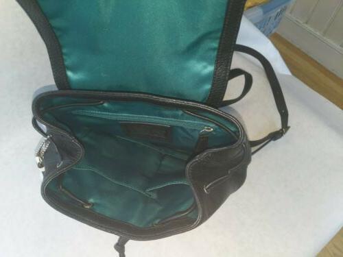 COACH Bagpack Silver/Black beautiful green interior