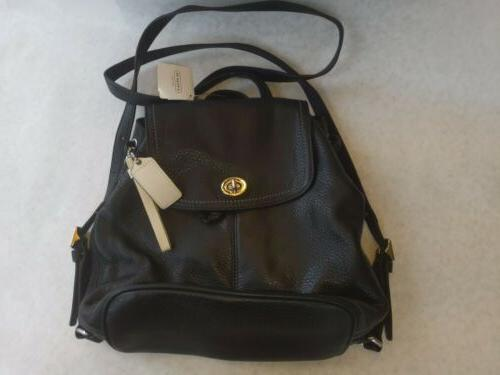 bagpack nwt park leather silver black f24385
