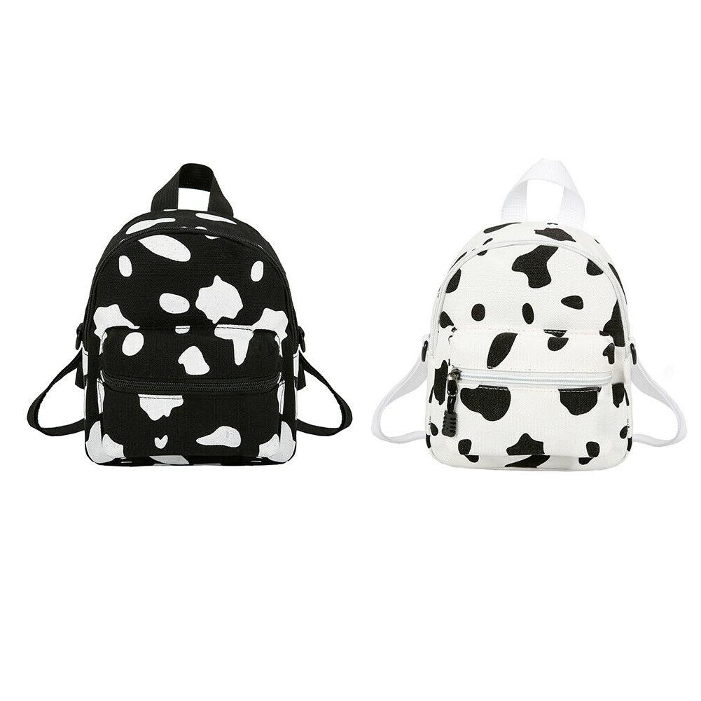 Cow Print Backpack Women Canvas Casual Schoolbag Teenage Gir