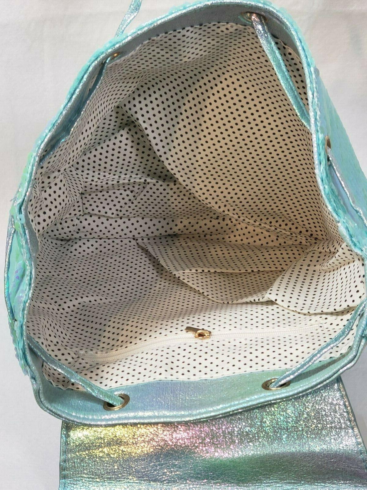Kids Mermaid Backpack Sea Blue Drawstring Tail Fin BagPack