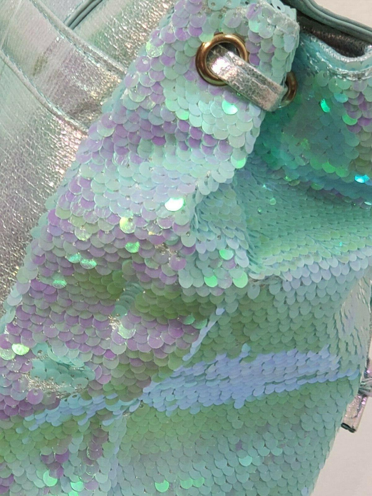 Kids Backpack Sea Blue Hologram Drawstring Fin