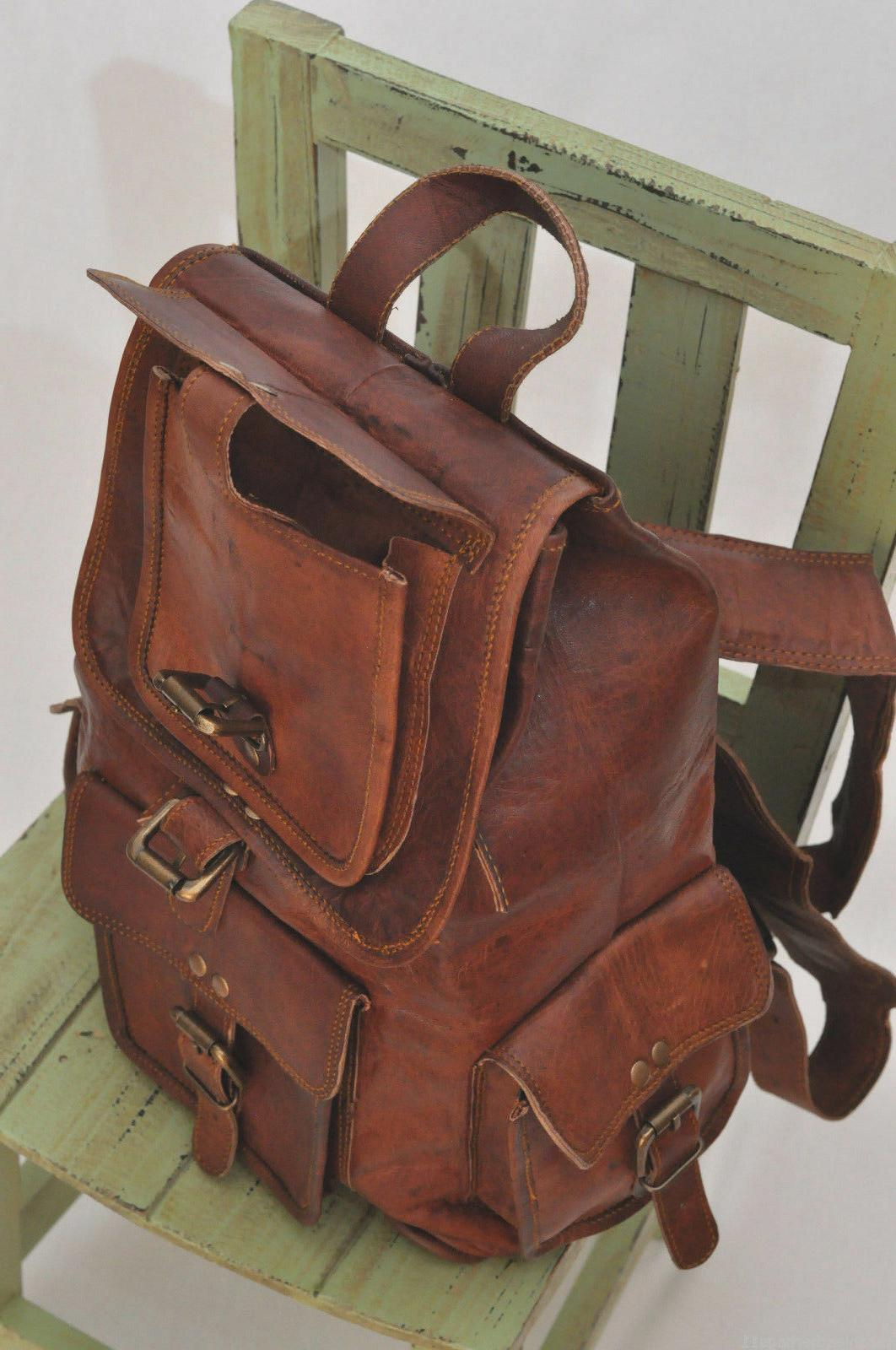 Leather Women Shoulder Genuine Brown School Backpack