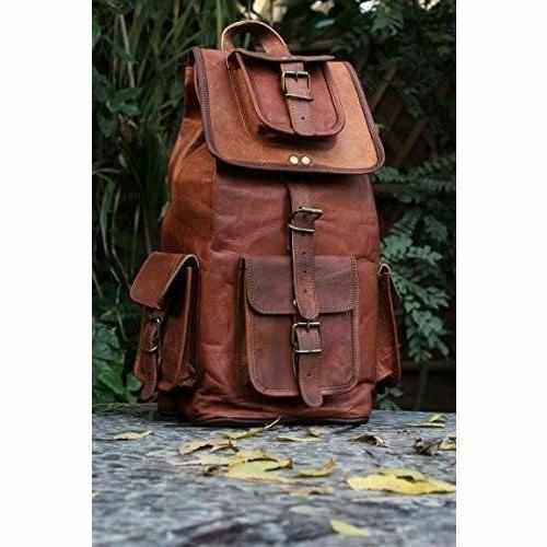 leather bagpack women shoulder genuine brown travelling