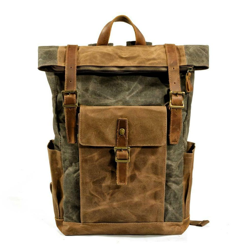 Men Leather Travel Backpack Waterproof