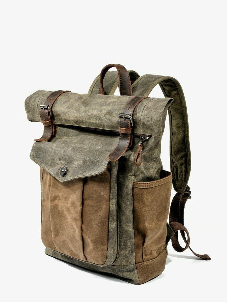 Men Canvas Leather Travel Backpack Daypacks Retro