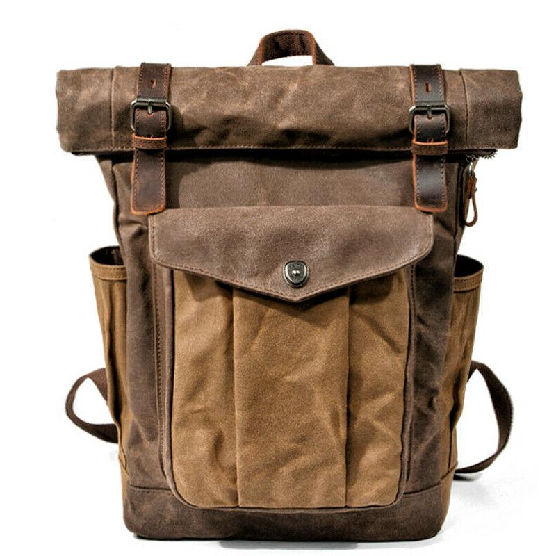 Men Wax Leather Backpack Daypacks Retro