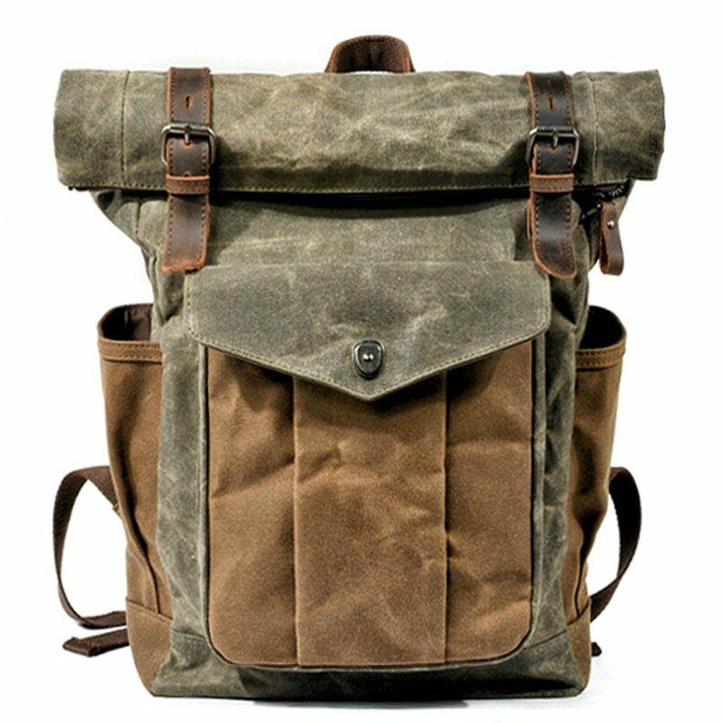 men oil wax canvas leather travel backpack
