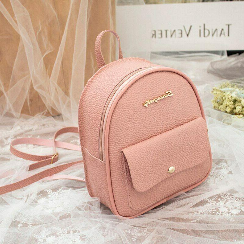 Mini Backpack Women PU Leather Shoulder Bag Girls Multi-Function