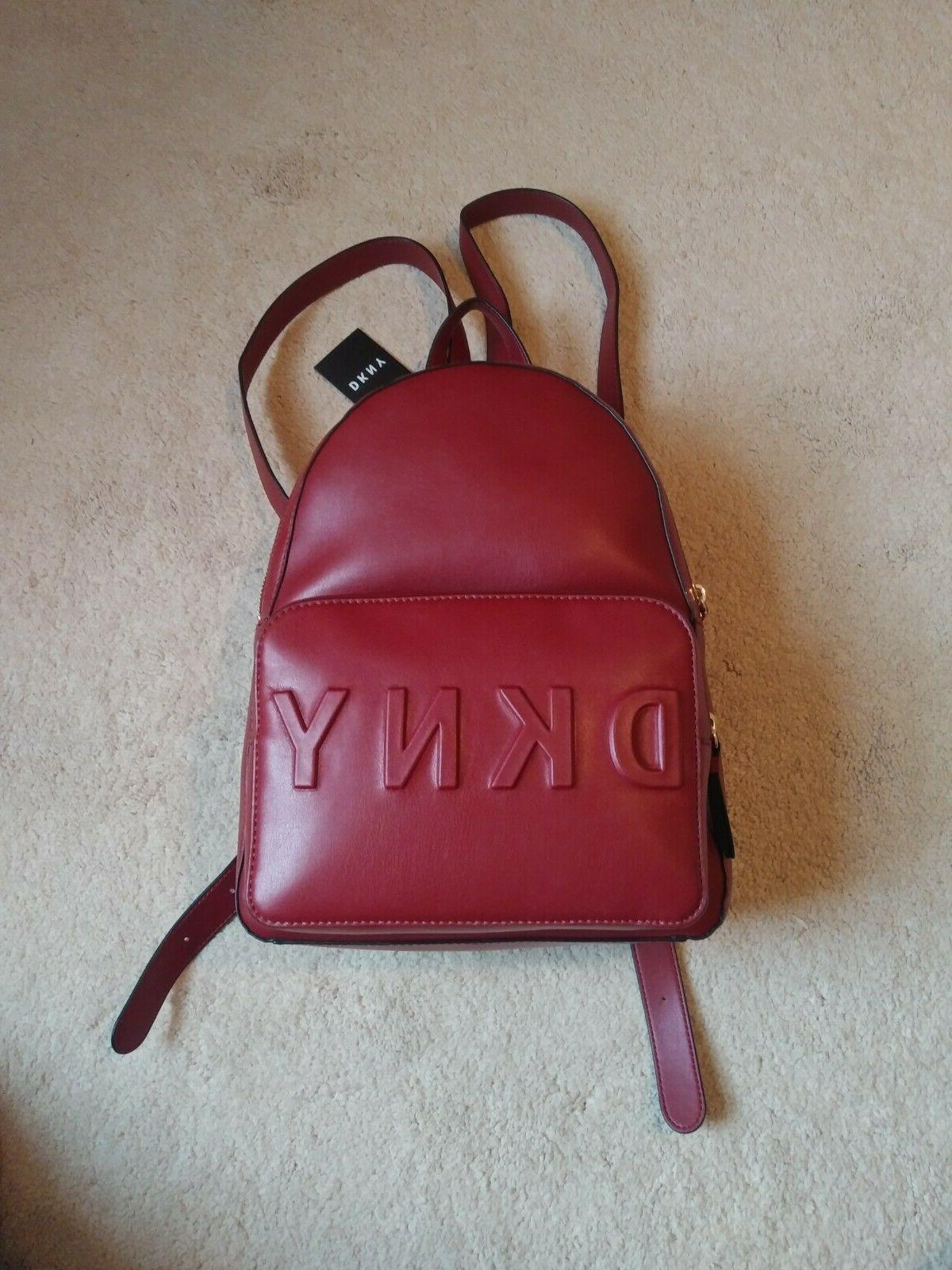 new leather bagpack deep red color