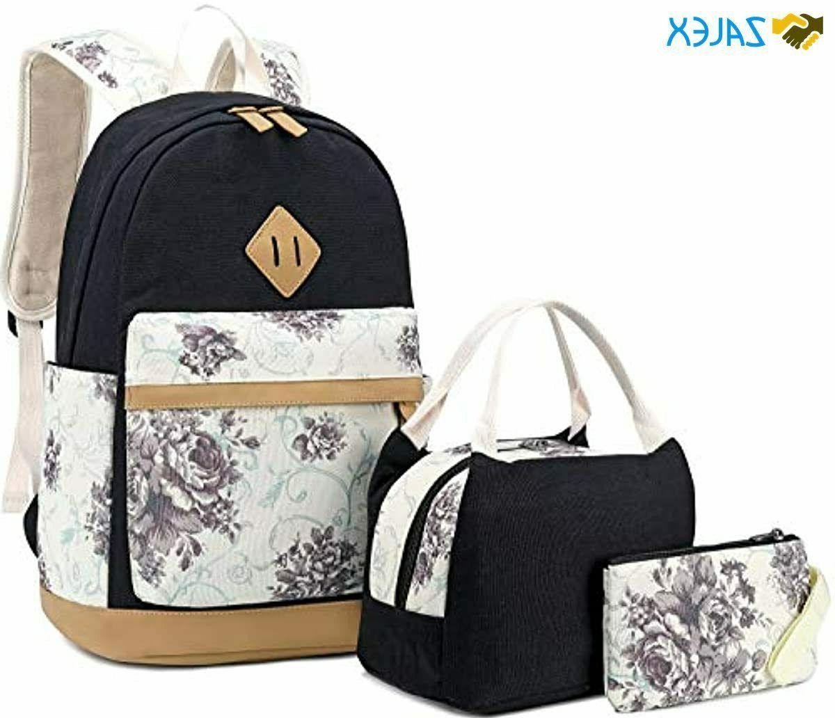 school backpack set canvas teen girls bookbag