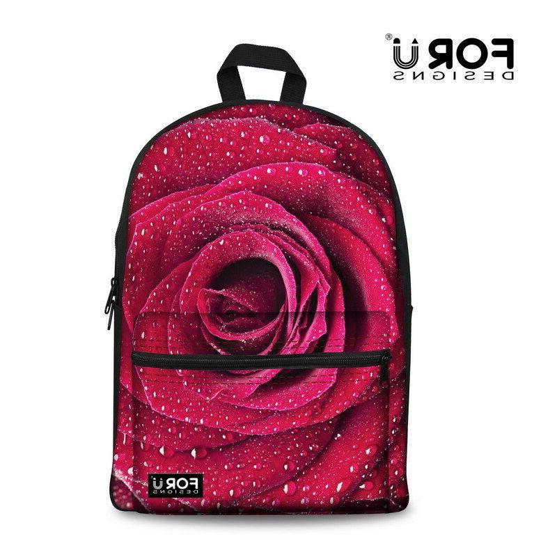 Women Floral Rose Backpack Girls School