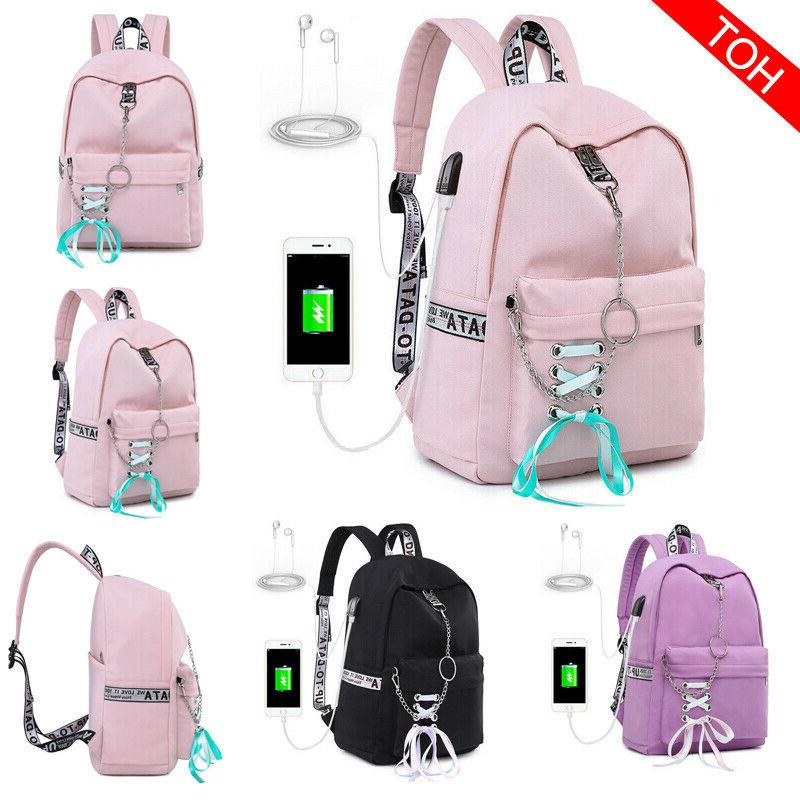 Women Bagpacks Waterproof Backpack for Girl USB Charge Trave
