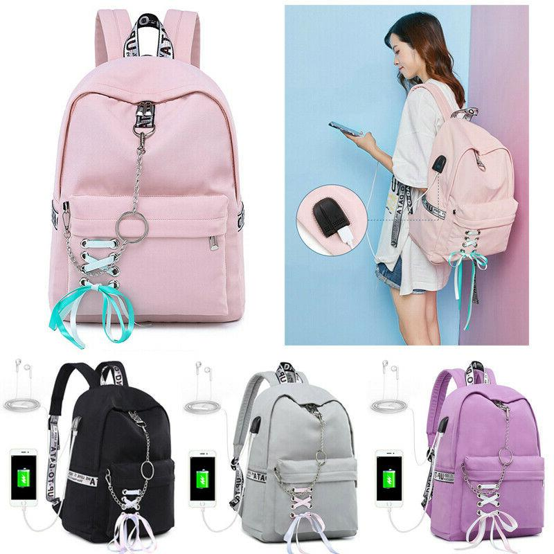 Womens Waterproof Backpack School Bags for Girl USB Charge T