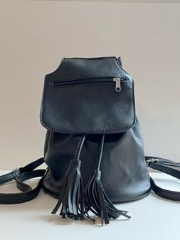 Leather Backpack Black Bagpack New!