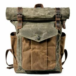 Men Oil Wax Canvas Leather Travel Backpack Waterproof Daypac