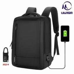 "Mens 15.6"" inch Laptop Backpack USB Charging Waterproof Anti"