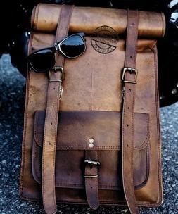 Mens Vintage Genuine Leather Laptop Roll Backpack Rucksack M