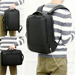 Smart Backpack Men Male School Bagpack USB Charger 15.6'' in