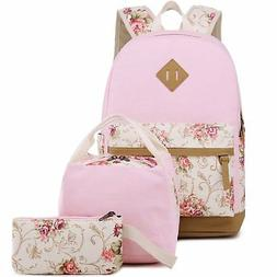 BLUBOON Teens Backpack Set Canvas Girls School Bags, Bookbag