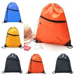 Unisex Sack Backpack String Drawstring Bag Tote School Outdo