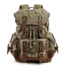 Waterproof Waxed Canvas Backpack Men Backpacks Leisure Rucks