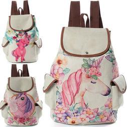 Womens Unicorn Print Linen Backpack for Girls School Shoulde